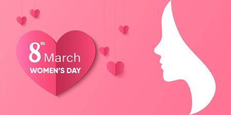Female silhouette and red love heart on pink background, Women's day poster or banner, template, Women's day illustration Ilustração