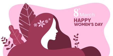 Women's day illustration or poster, female character silhouette in front of plant background