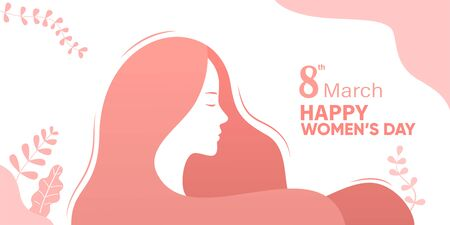 International Women's Day, Happy Women's Day illustration, female character silhouette in front of plant background