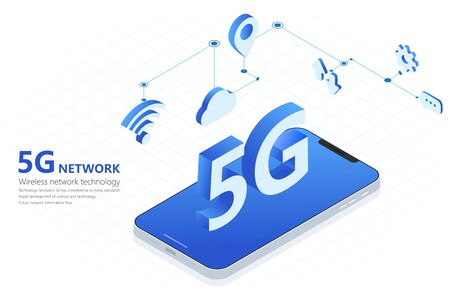 5G wireless network technology vector illustration, big letter 5G and smartphone isometric, mobile internet concept, digital service