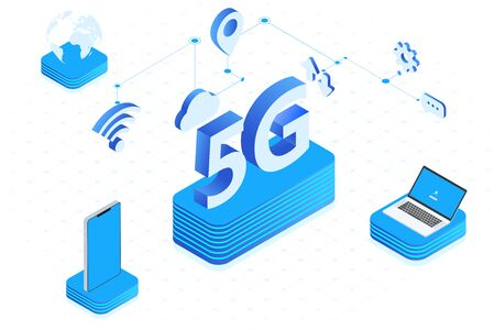 5G wireless network vector illustration, big letter 5G isometric, 5G network technology application, mobile internet concept.Web page template.