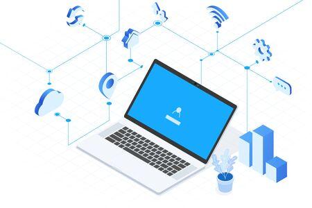 Computer axonometric drawing, Mobile Internet, online office and online learning concept Ilustração