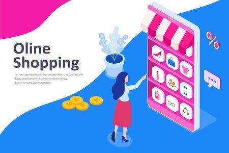 Young women shopping on mobile or online shopping isometric illustration Ilustração