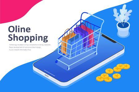 Online shopping isometric vector illustration, shopping cart on mobile phone, Flat vector illustration.