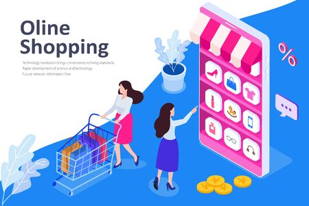 Online shopping isometric vector illustration, young women with shopping cart, Vector illustration in flat style.