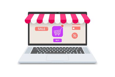 Online shopping concept, laptop and store