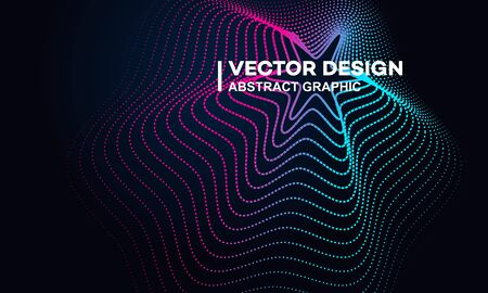 Abstract gradient lines or sound flyer, music festival poster design, flat vector illustration