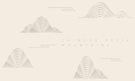 Curved mountain graphics, Chinese national tide style illustration, Chinese traditional illustration