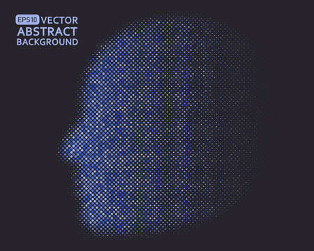 Human brain graphics composed of blue dots, the concept of artificial intelligence and big data