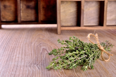 string together: Thyme sprigs tied together with string
