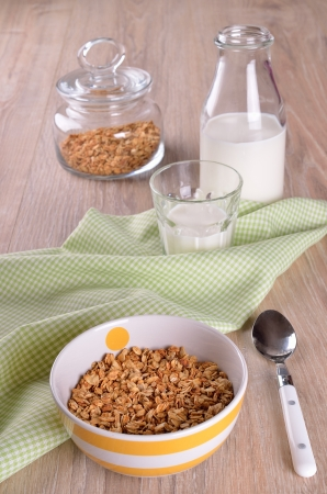 Granola cereal made in striped plate on a wooden surface photo