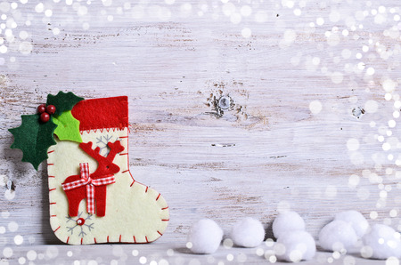 Christmas composition with toe, snow and Christmas decorations Archivio Fotografico