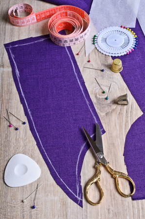 Procurement of fabric purple cut out along the contour