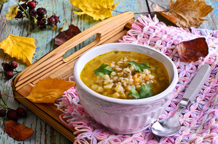 Soup with pearl barley and vegetables on the plate