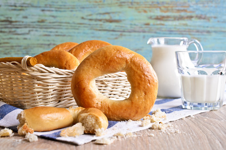bublik: Donut on a napkin with milk in the background