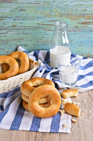 boublik: Donut on a napkin with milk in the background