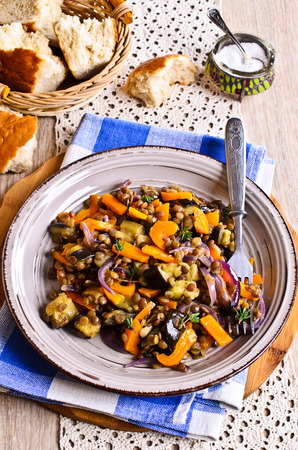 Lentils cooked with capsicum, eggplant and onions 스톡 콘텐츠