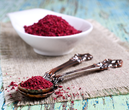 Ground sumac in a metal spoon on a wooden surface