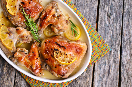 Chicken baked with lemon, mustard and rosemary