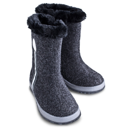 valenki: Kids winter felt boots grey color on a white background Stock Photo