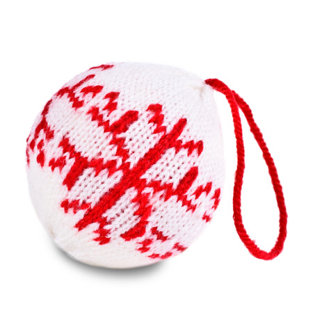 Christmas balls knitted texture pattern on a white background