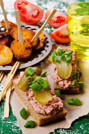 Sandwich with liver pate and pickles. Selective focus. Stock Photo