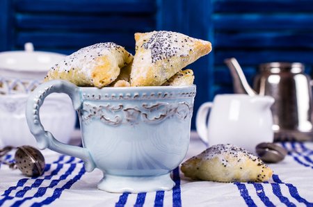 Triangular cookies with poppy seeds and powdered sugar. Selective focus. Stock Photo