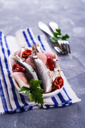 sardine can: Small fish in brine with spices. Selective focus. Stock Photo