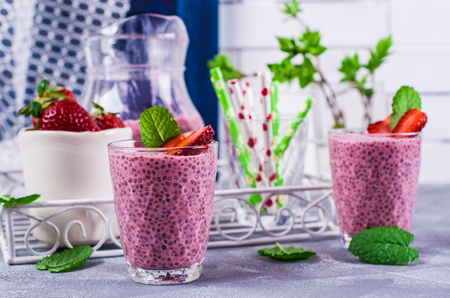 Smoothies with chia seeds and strawberries. Selective focus.