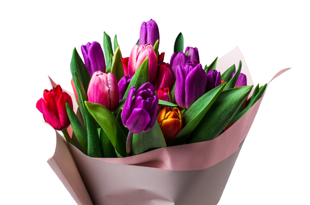 Bouquet with colorful tulips on white background. Selective focus.