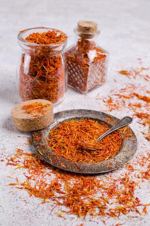 Traditional dry saffron spice on stone background. Selective focus. Standard-Bild - 109489049