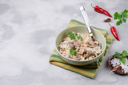 Traditional pearl barley porridge with vegetables and meat. Selective focus. Stok Fotoğraf