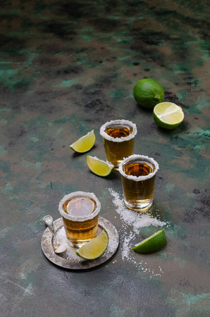 Tequila shot with lime and sea salt on dark background. Selective focus. Foto de archivo