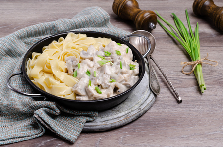 Traditional Italian creamy pasta with meat and mushrooms. Selective focus.