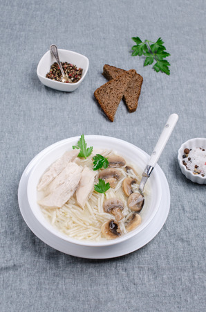 Thick soup with noodles, vegetables and white meat on a crumpled textile background. Selective focus.