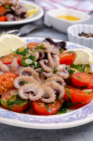 Salad with octopus and fresh vegetables in the marinade. Selective focus. Stok Fotoğraf