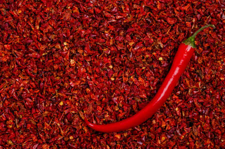 Slices of dry red pepper. A copy of the space. The concept of the design.