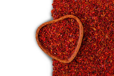 Slices of dry red pepper. A copy of the space. The concept of the design. Banque d'images