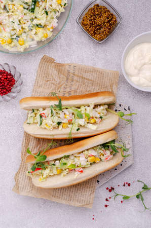 Lobster salad sandwiches on craft paper. Selective focus. Archivio Fotografico