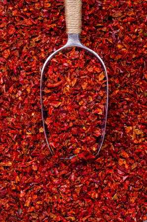 Slices of dry red pepper. A copy of the space. The concept of the design. Archivio Fotografico