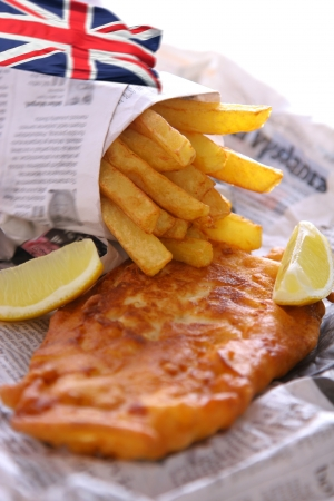 codfish: Fish and chips to go Stock Photo