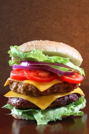 burger and fries: Delicious double cheeseburger