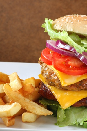 Delicious double cheeseburger with fries photo