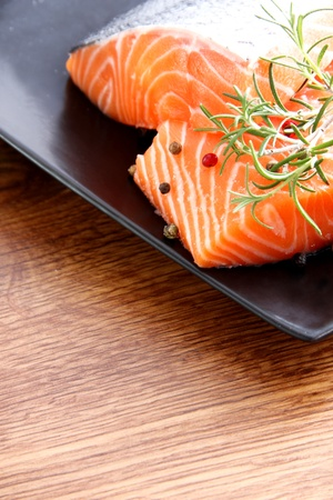 meat counter: Nice pieces of raw salmon