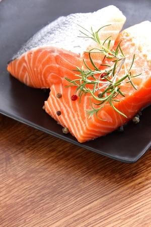 Nice pieces of raw salmon photo