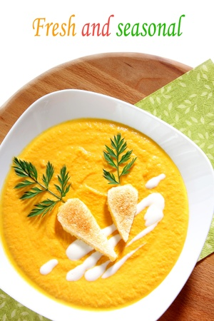 Nicley decorated carrot soup photo
