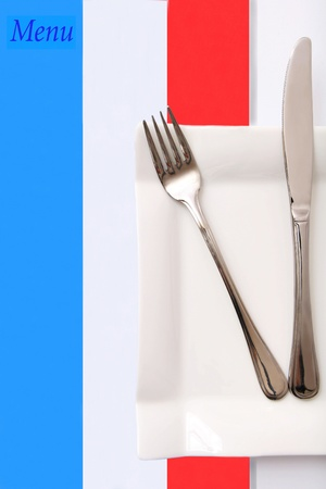 french cuisine: French style restaurant menu set, French cuisine Stock Photo