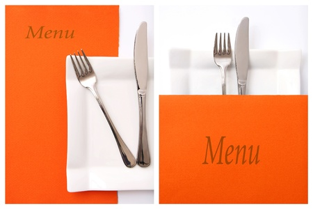 Collage of two orange restaurant menu set photo