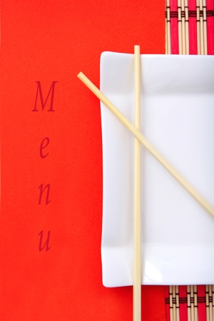 Chinese style restaurant menu, red color photo