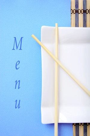 Chinese style restaurant menu, blue color photo
